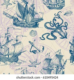 Old caravel, vintage sailboat, sea monster. Hand drawn sketch. Vector seamless pattern for boy. Detail of the old geographical maps of sea.