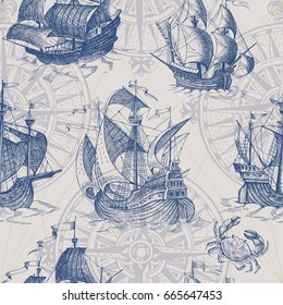 Old caravel, vintage sailboat, sea crab. Hand drawn sketch. Vector seamless pattern for boy. It can be used for textile, wrapping paper, menu design and invitations.