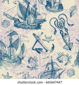 Old caravel, vintage sailboat, seashells, starfish, crab, squid. Hand drawn sketch. Vector seamless pattern for boy. It can be used for textile, wrapping paper, menu design and invitations.