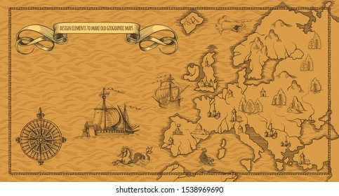Old caravelle, vintage sailboat, sea monster. Detail of fantasy geographical maps