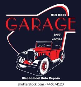 Old Cars Garage vector design T-shirt print.
