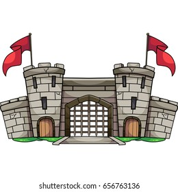 Old cartoon castle with gate and red flag vector illustration