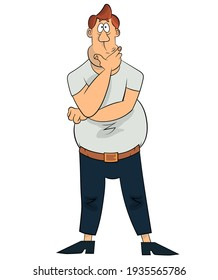 Old cartoon, comic style thinking stout man wondering about sulotion. Heavy man confused, worried. Vector clip art illustration isolated on white