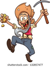 Old cartoon gold miner. Vector clip art illustration with simple gradients. All in a single layer.