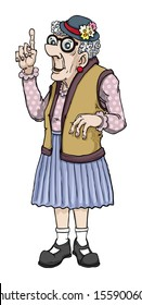 Old cartoon lady making a point, vector illustration