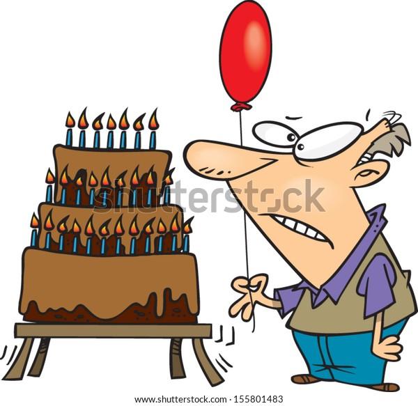 Miraculous Old Cartoon Man Giant Birthday Cake Stock Vector Royalty Free Personalised Birthday Cards Veneteletsinfo