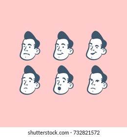 Old Cartoon Style 50s Character  Emoji Pack