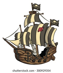 An old cartoon style galleon/Pirate ship