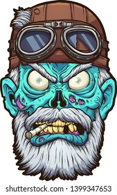 Old cartoon zombie biker head with leather helmet clip art. Vector illustration with simple gradients. All in a single layer.