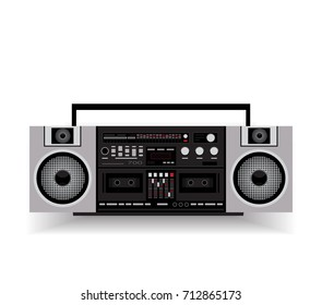 Old cassette audio. Gray audio of the 90s. Flat design