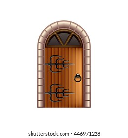 Old castle door isolated on white photo-realistic vector illustration