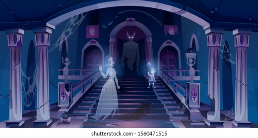 Old castle with ghosts flying in dark scary room with staircase. Abandoned palace hall entrance interior with spiderweb, cracked pillars and statues, halloween spooky scene Cartoon vector illustration