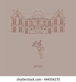 Old castle and grape. Wine label . Vector illustration