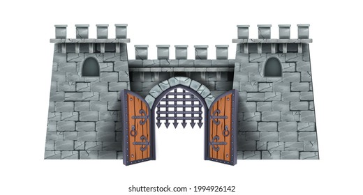 Old castle tower vector illustration, stone medieval cartoon fortress, wooden open city gate, grate. Ancient double door, arch portal entrance, citadel game object front view. Brick castle tower