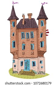 An old castle-like mansion. Architecture. Cartoon.
