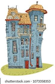 An old castle-like mansion. Cartoon