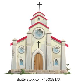 The old Catholic Church isolated on a white background. Cartoon vector close-up illustration.