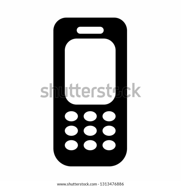 Old Cellular Phone Icon Vector Logo Royalty Free Stock Image