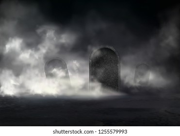 Old cemetery at night realistic vector with sloping gravestones covered thick fog in darkness illustration. Mysterious mist on graveyard. Creepy Halloween background with mystical scene in moonlight