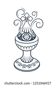 Old censer hung on white background . Icon in linear style. black and white silhouette