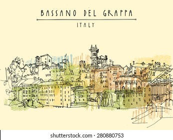 Old center in Bassano del Grappa, Vicenza province, Italy in vector. Italian historical buildings. Line art freehand drawing. Travel sketch, Bassano del Grappa Italy hand lettering. Postcard template