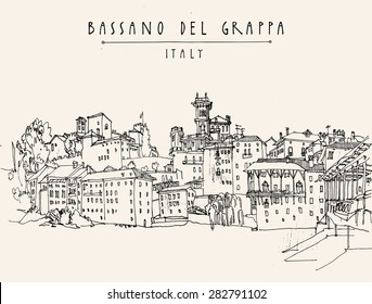 Old center panorama in Bassano del Grappa, Vicenza province, Italy. Historical building line art. Freehand drawing with liner pen on paper. Quick travel sketch with hand lettering. Postcard template