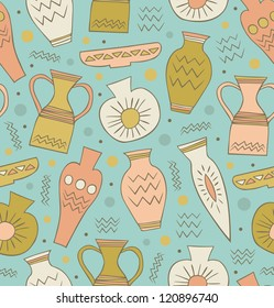 Old ceramic seamless pattern. Ethnic antique Greek style background. China. Endless texture with hand drawn tableware
