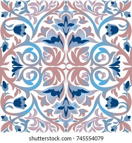 Old ceramic tile wall patterns texture. Colorful ethnic patterned background. Arabesque vector ornament.