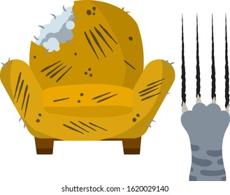 Old chair. Scratched and cut armchair. Paw of a grey cat with trace claws. Broken furniture. Bad behavior. Cartoon flat illustration