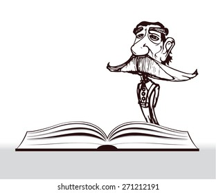 old character teacher with big mustache and open book