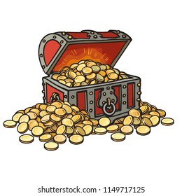 Old chest with gold coins. Piles of coins around. Cartoon style hand drawn vector illustration. Isolated on white background. Money finance wealth concept.