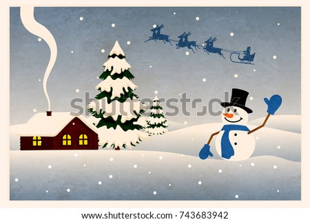 Old Christmas Card Vector Illustration Stock Vector Royalty Free