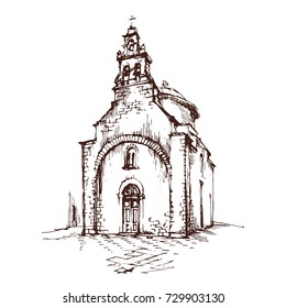 Old Church outline hand drawn ink sketch stock vector illustration