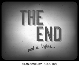 Old cinema phrase (the end), vector, EPS10