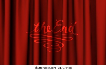 Old Cinema Styled Text The End On Dark Red Curtain Background Vector