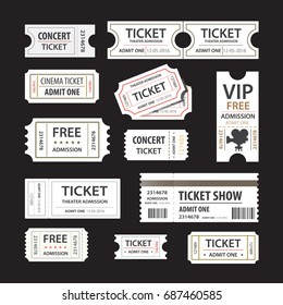 Old cinema tickets for cinema. Eps10 vector illustration. Isolated on black background
