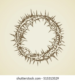 Old circle sharp spikes for redeemer head isolated on white backdrop. Freehand outline black ink hand drawn object sign sketch in art doodle retro style pen on paper. Closeup view with space for text