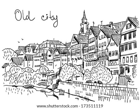 Old City Drawing On White Background Stock Vector Royalty Free