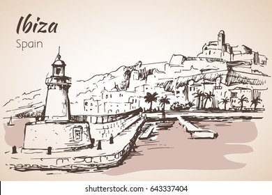 Old city of Ibiza Town, Balearic islands, Spain, Europe. Ibiza castle. Historical buildings.Travel sketch. Isolated on white background
