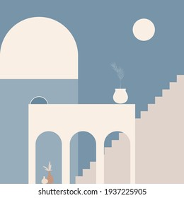 Old city minimalist boho illustration. Boho summer old city with stairs pattern for design tourism agency flyer, summer birthday greeting card, resort party advertising etc