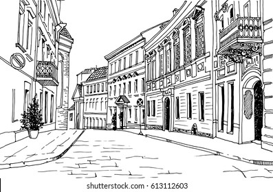 Old city street in hand drawn line sketch style. Old city landscape. Vector illustration.