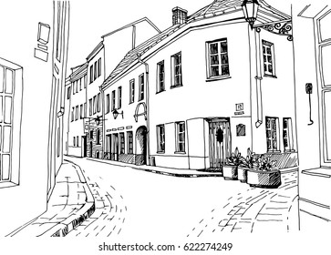 Old city street in hand drawn line art sketch style. Vector illustration. Small European town. vintage landscape on white background