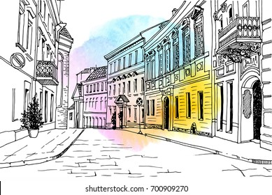 Old city street in hand drawn line art sketch style. Vector illustration. Small European town. vintage landscape on background watercolor