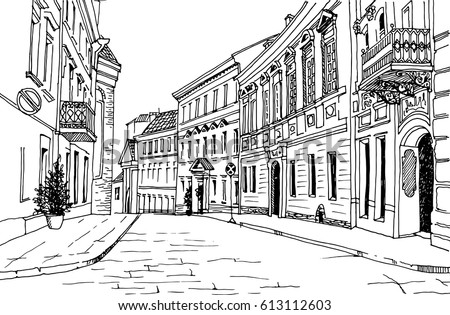 Old City Street Hand Drawn Line Stock Vector Royalty Free