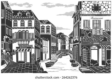 Old city street. Vector Illustration.