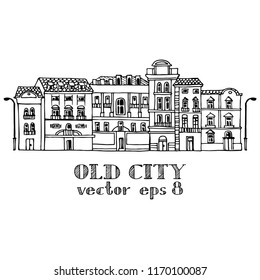 Old city view, linear vector illustration.