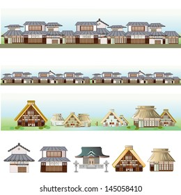 Old city and village  in north-land?area and tokyo ?,Japan. Stores and houses and shrine.