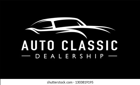 Old classic auto concept line style retro car dealership logo. Vintage style V8 garage vehicle silhouette icon. Vector illustration.