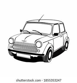 Old classic car vector illustration. Vintage car illustration. Retro car illustration.