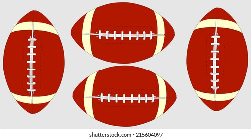 An old classic leather rugby ball with laces and stitching on an isolated background . American Football Isolated. Vector
